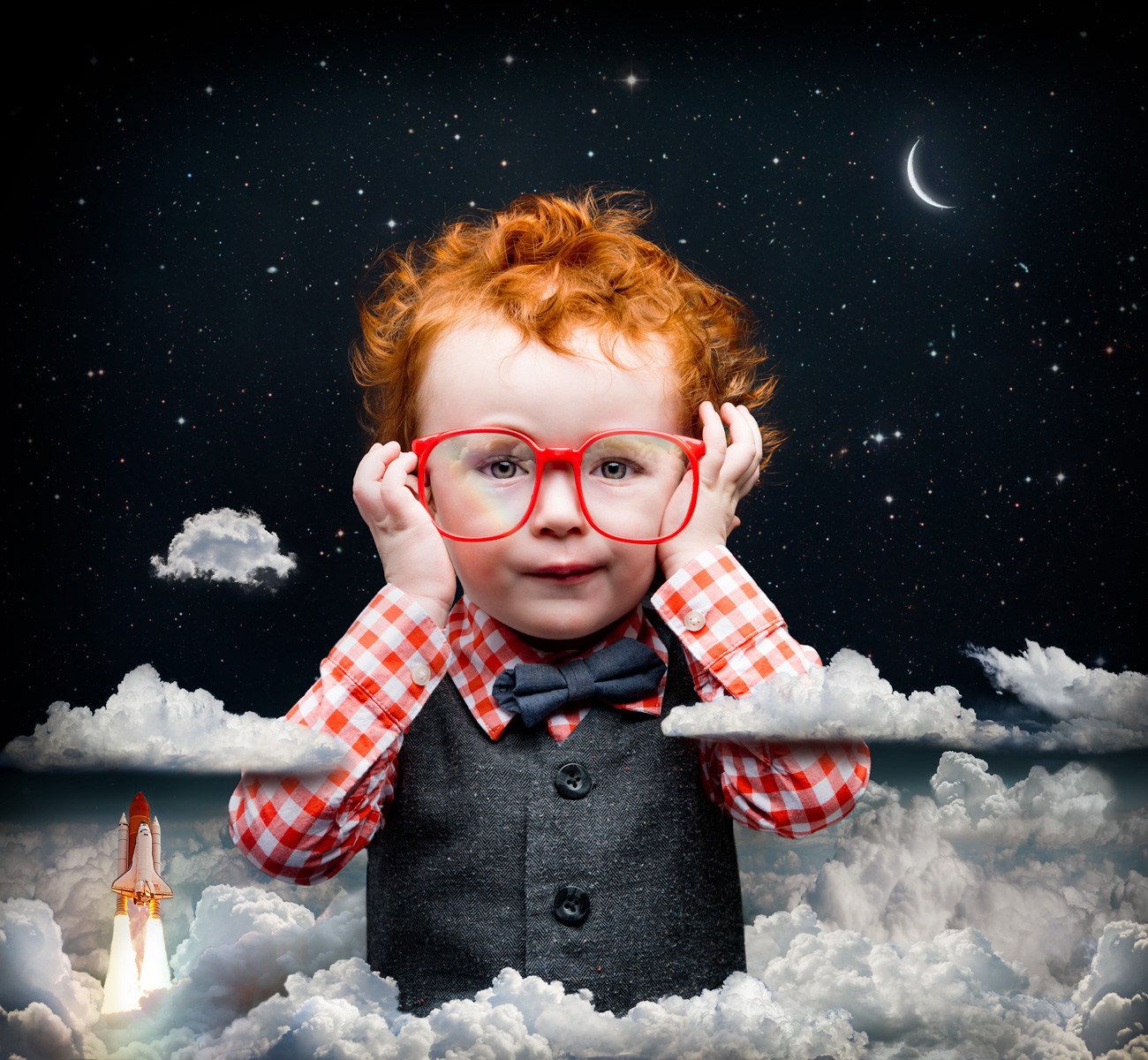 Lennox the red head goes into the upper atmosphere with Big red glasses